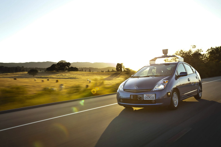 google self driving prius car